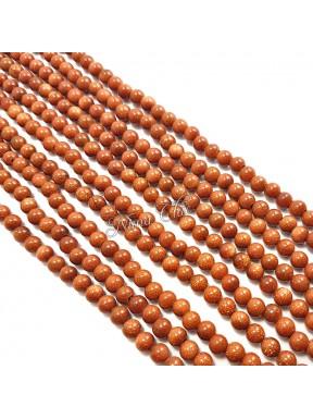 1 Filo di GOLDSTONE perle sintetiche tonde 6mm marrone