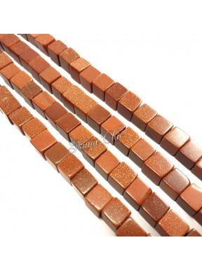10pz perle cubo GOLDSTONE sintetiche 10mm marrone