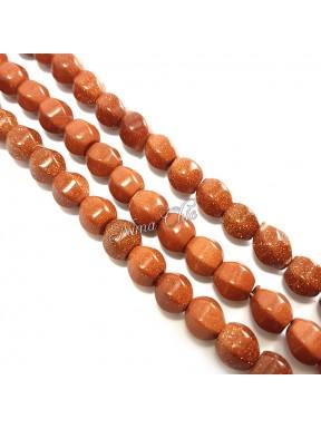 1 Filo di GOLDSTONE perle sintetiche tondo irregolare 10mm marrone