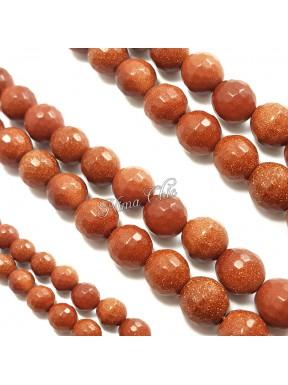 6pz perle GOLDSTONE sintetiche tonde sfaccettate 12mm marrone