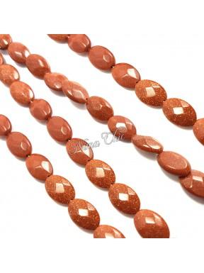 10pz perle GOLDSTONE sintetiche ovali sfaccettate 8x12mm marrone