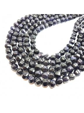 1 Filo di GOLDSTONE perle sintetiche tondo irregolare 10mm blu