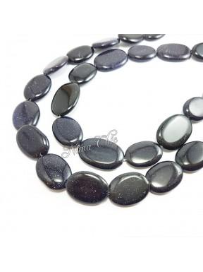 4pz Perle ovali piatte GOLDSTONE blu glitter