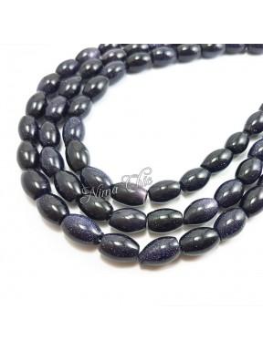 1 Filo di GOLDSTONE perle sintetiche oliva 10x15mm blu