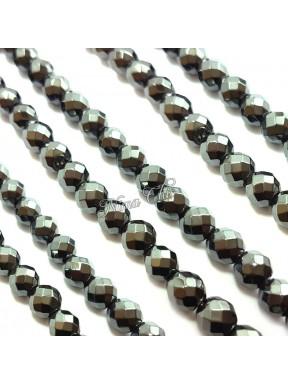 1 Filo di perle EMATITE 8mm pietre dure sfaccettate irregolari