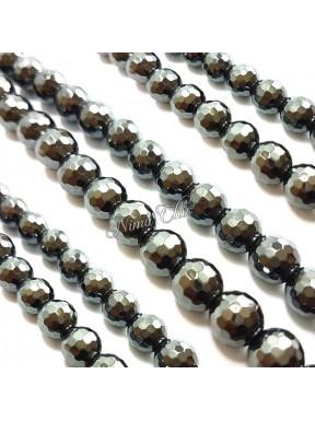 1 Filo di perle EMATITE 10mm pietre dure tonde sfaccettate