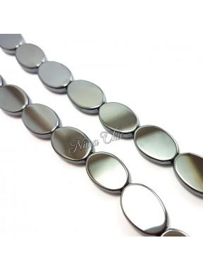 4 Perle EMATITE 13x18mm pietre dure ovali