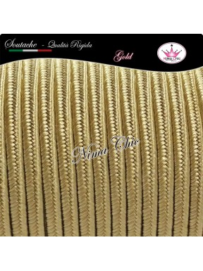 2 MT Cordoncino SOUTACHE cotone viscosa GOLD 3mm