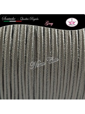 2 MT Cordoncino SOUTACHE cotone viscosa GRAY 3mm