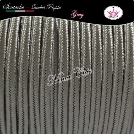 2 MT Cordoncino SOUTACHE cotone viscosa GRAY 3mm