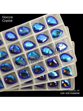 2pz GOCCE in cristallo sapphire ab MISURA A SCELTA