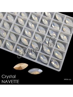 2pz NAVETTE in cristallo 7X15mm cabochon white opal