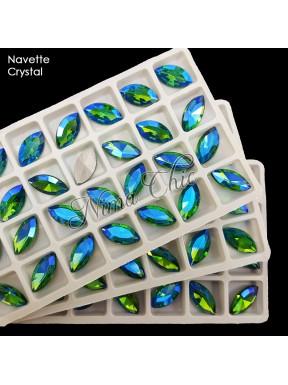2pz NAVETTE in vetro sfaccettato Emerald boreale