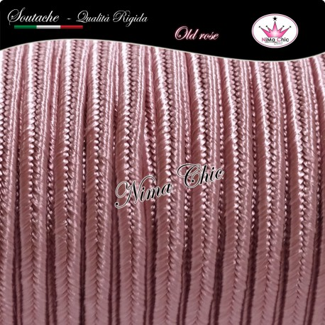 2 MT Cordoncino SOUTACHE cotone viscosa OLD ROSE 3mm