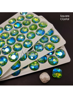 2pz cabochon SQUARE in cristallo 14mm LIGHT PERIDOT ab