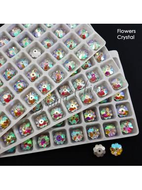 2pz FIORI in cristallo 10mm cabochon perla Crystal AB