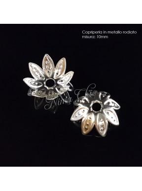 50pz Copriperla fiore 10mm colore argento