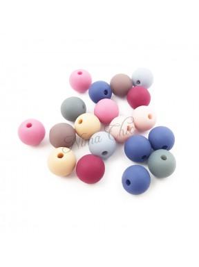 20pz Perle tonde SATINATE in acrilico 8mm multicolor