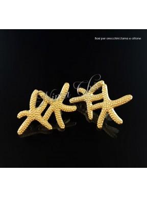 2pz BASI ORECCHINI stella marina in zama col. oro