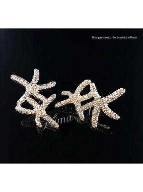2pz BASI ORECCHINI stella marina in zama col. argento