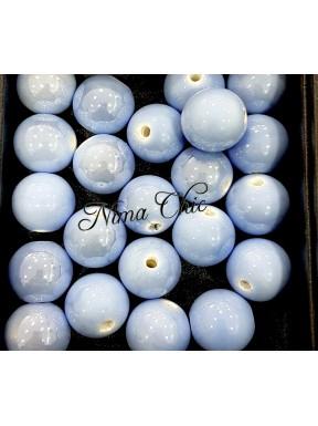 2 pz perle ceramica 16mm Azzurro Fiordaliso