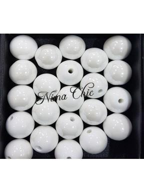 2 pz perle ceramica 16mm Bianco