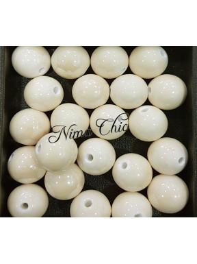 2 pz perle ceramica 16mm Crema