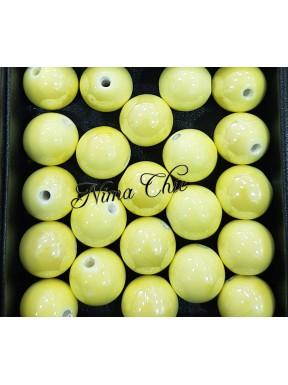 2 pz perle ceramica 16mm Giallo Chiaro
