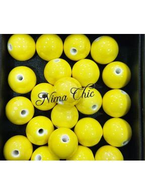 2 pz perle ceramica 16mm Giallo