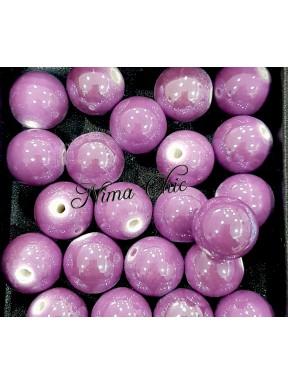 2 pz perle ceramica 16mm Lavanda