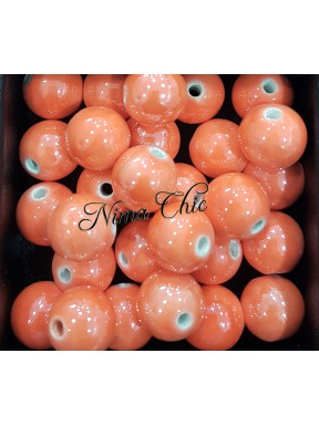 2 pz perle ceramica 12mm Arancio