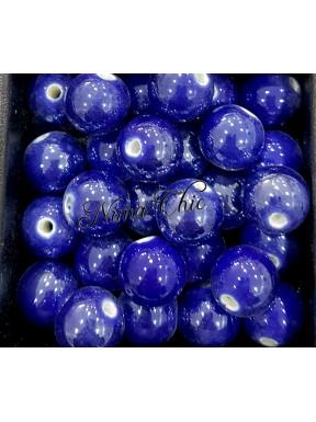 2 pz perle ceramica 12mm Blu Cobalto