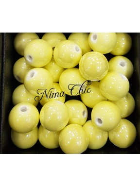 2 pz perle ceramica 12mm Giallo Chiaro