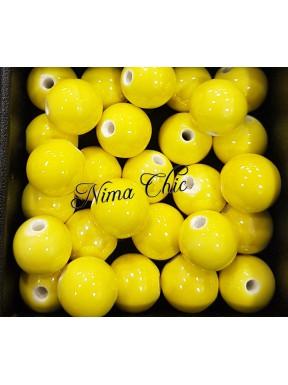 2 pz perle ceramica 12mm Giallo