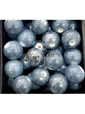 2 pz perle ceramica 12mm Grigio Lavagna