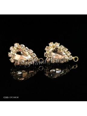 2pz BASI ORECCHINI in ottone color oro crystal OTCHROR