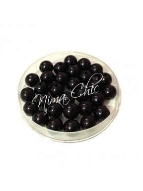 100 pz perle in vetro cerato pvc Nero 6mm