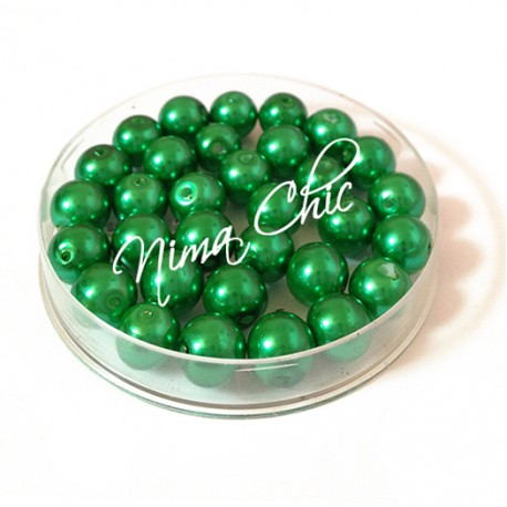100 pz perle in vetro cerato pvc Verde Smeraldo 6mm