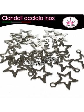 3pz charms ciondoli stella stellina in acciaio inox pendente 18x15mm