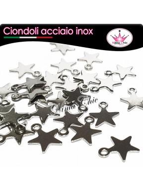 5pz charms ciondoli stella stellina in acciaio inox 10x9mm