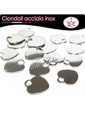 3pz charms ciondoli cuore in acciaio inox 12mm