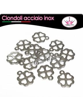 3pz charms ciondoli quadrifoglio portafortuna in acciaio inox