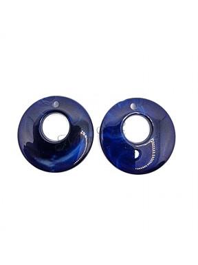 2 pz Cerchi in Resina BLU NOTTE 25mm con foro