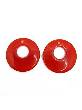 2 pz Cerchi in Resina ROSSO 25mm con foro