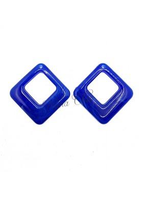 2 pz Rombi in Resina Blu cobalto 42x41mm con foro