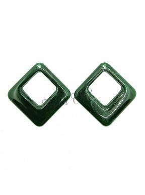 2 pz Rombi in Resina Verde scuro 42x41mm con foro