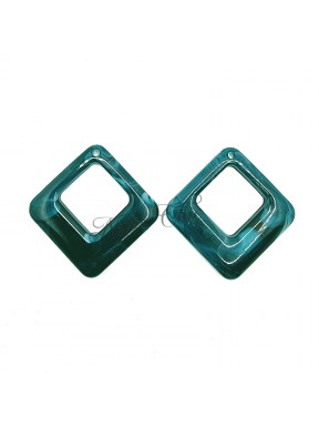 2 pz Rombi in Resina Verde smeraldo 42x41mm con foro
