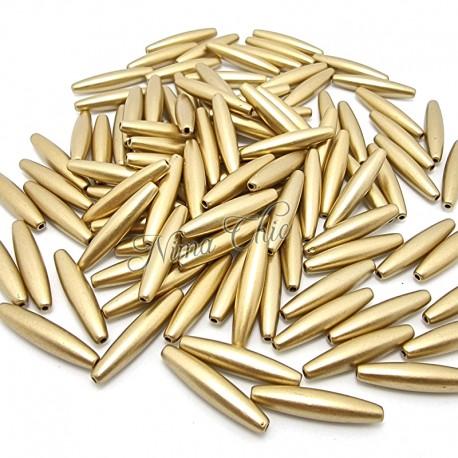 4 pz Tubicini Resina Oro  28x6mm con foro
