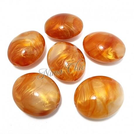 2 pz Ovali in Resina Arancio perlato 30x25mm con foro passante