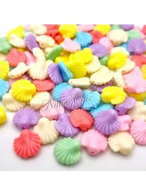 30 PERLE in Acrilico Conchiglie colori pastello 13x13mm